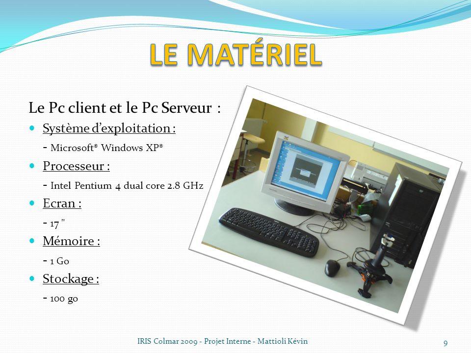 Le matériel Le Pc client et le Pc Serveur : Système d'exploitation :