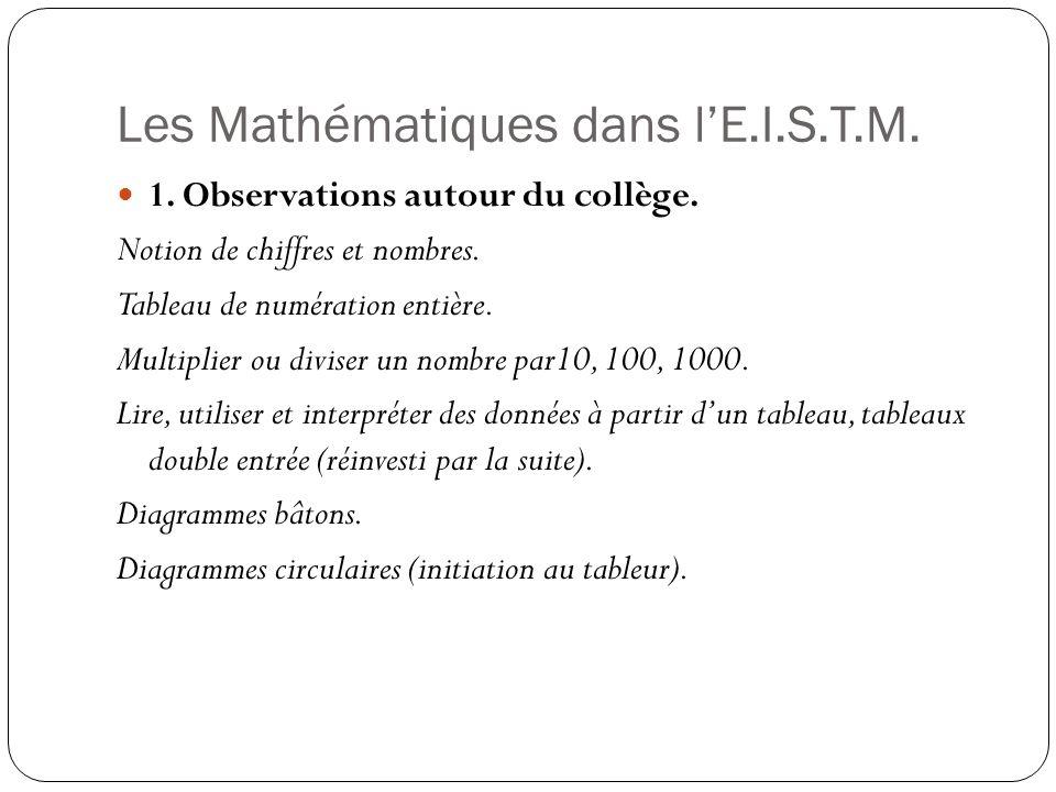 Les Mathématiques dans l'E.I.S.T.M.
