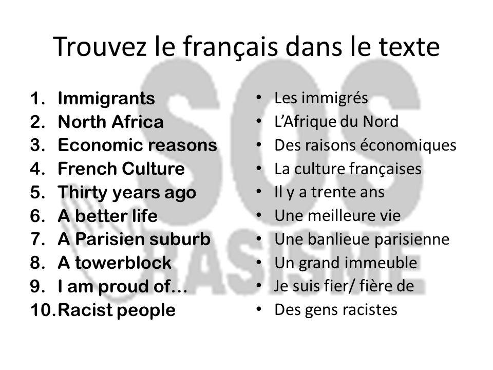 Trouvez le français dans le texte
