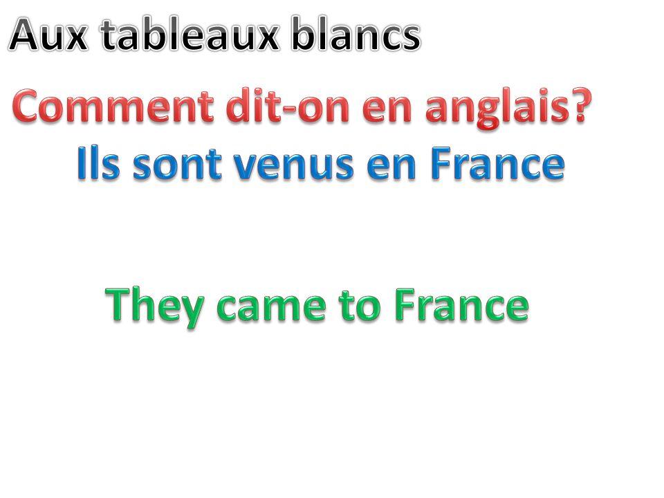 Comment dit-on en anglais Ils sont venus en France