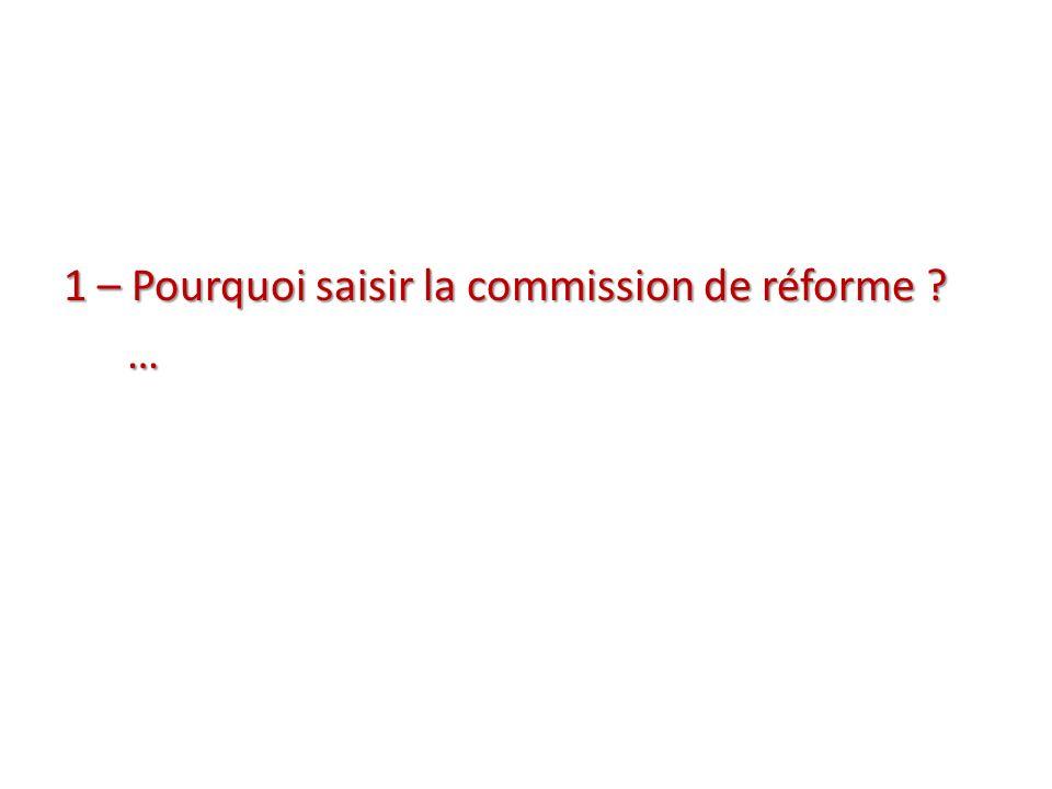 1 – Pourquoi saisir la commission de réforme …