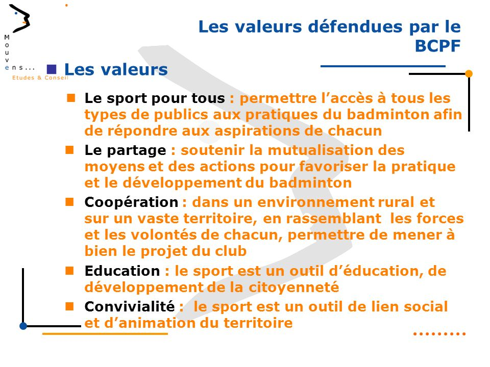 Les valeurs défendues par le BCPF