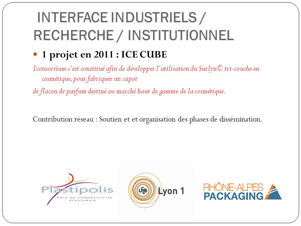INTERFACE INDUSTRIELS / RECHERCHE / INSTITUTIONNEL