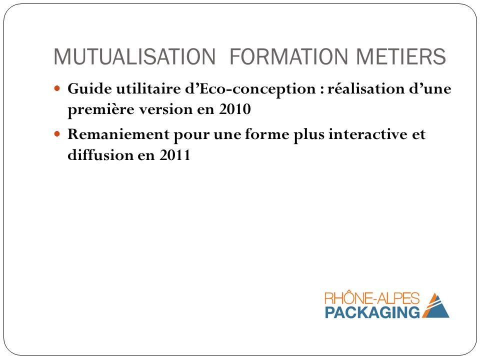 MUTUALISATION FORMATION METIERS