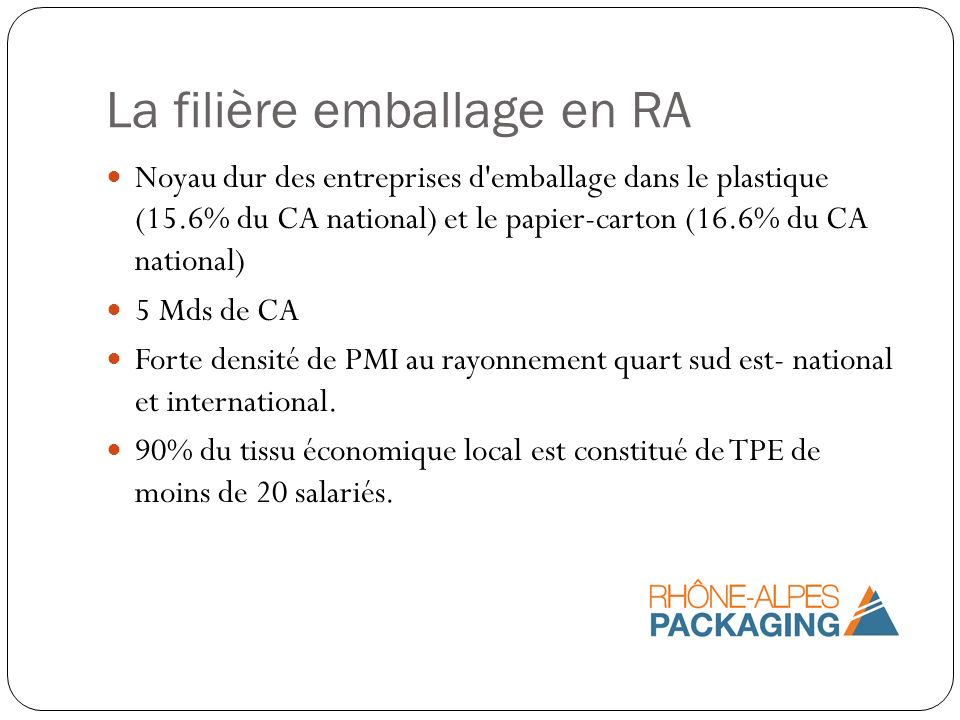 La filière emballage en RA