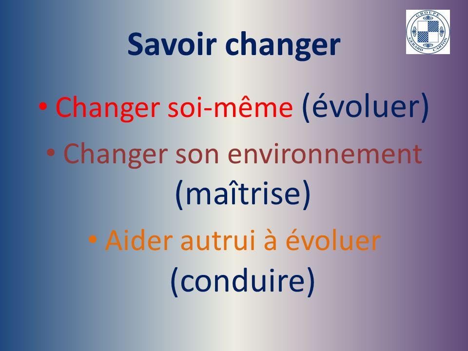 Savoir changer Changer soi-même (évoluer)
