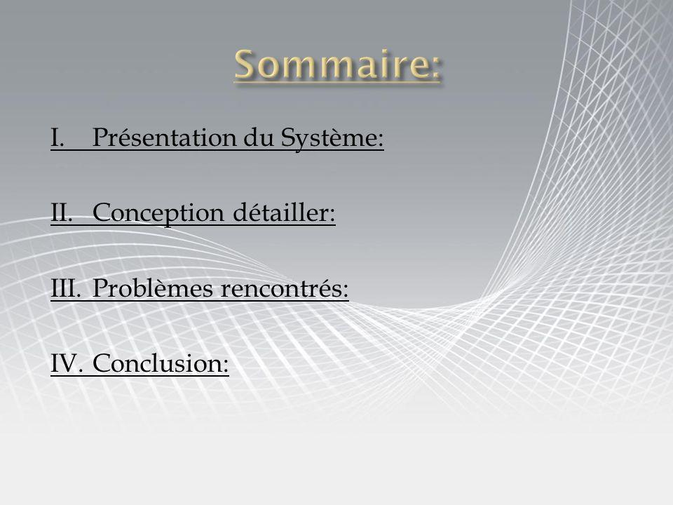 Sommaire: I. Présentation du Système: II. Conception détailler: