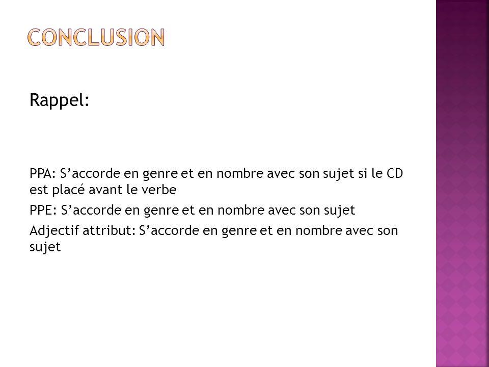 CONCLUSION Rappel: PPA: S'accorde en genre et en nombre avec son sujet si le CD est placé avant le verbe.