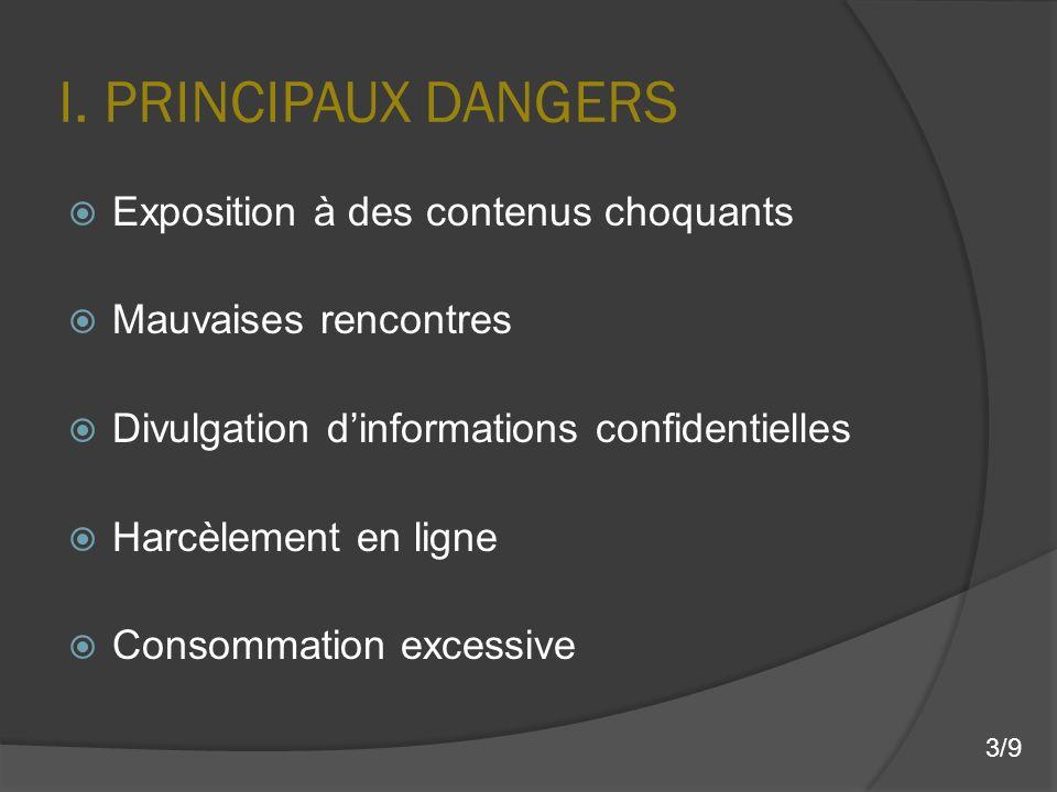I. PRINCIPAUX DANGERS Exposition à des contenus choquants