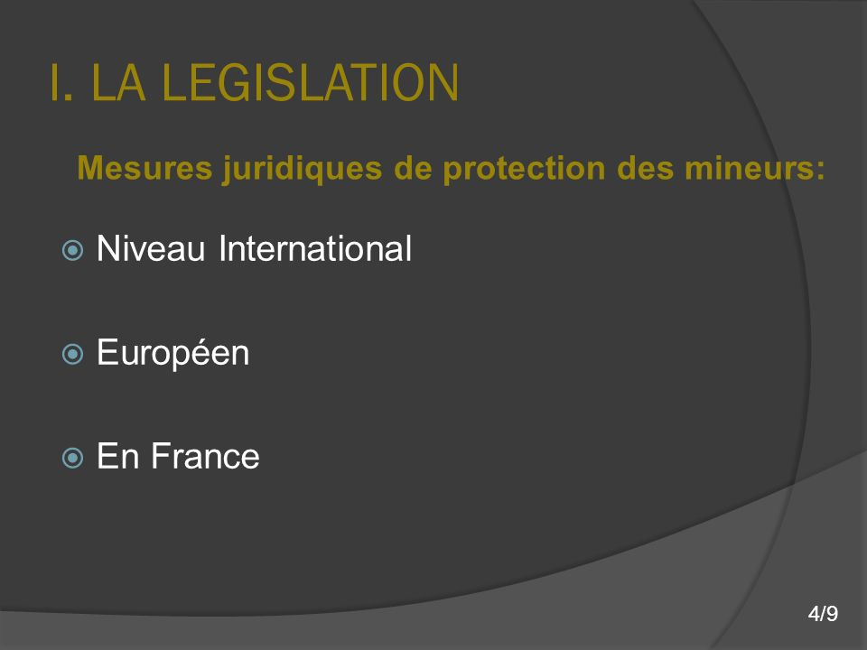 I. LA LEGISLATION Niveau International Européen En France