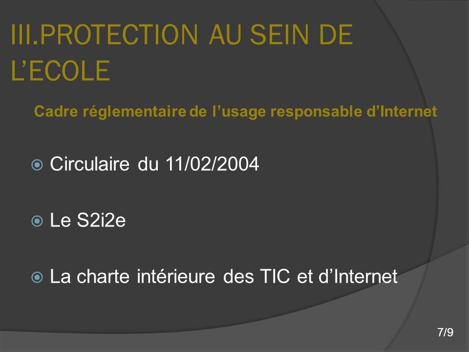 III.PROTECTION AU SEIN DE L'ECOLE