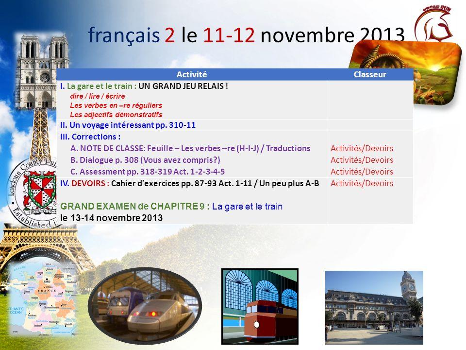 français 2 le 11-12 novembre 2013 Activité Classeur