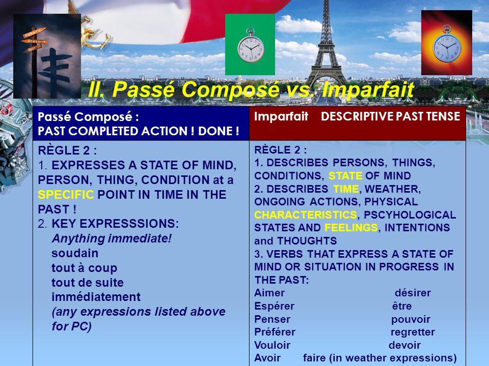 II. Passé Composé vs. Imparfait