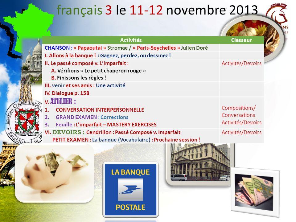 français 3 le 11-12 novembre 2013 Activités Classeur