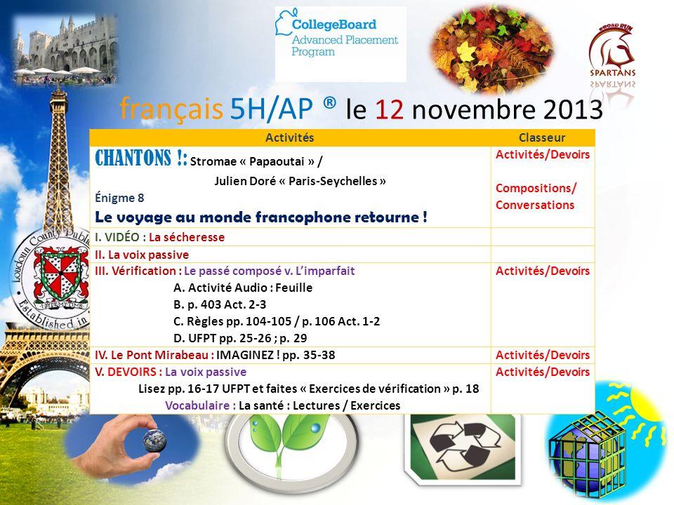 français 5H/AP ® le 12 novembre 2013