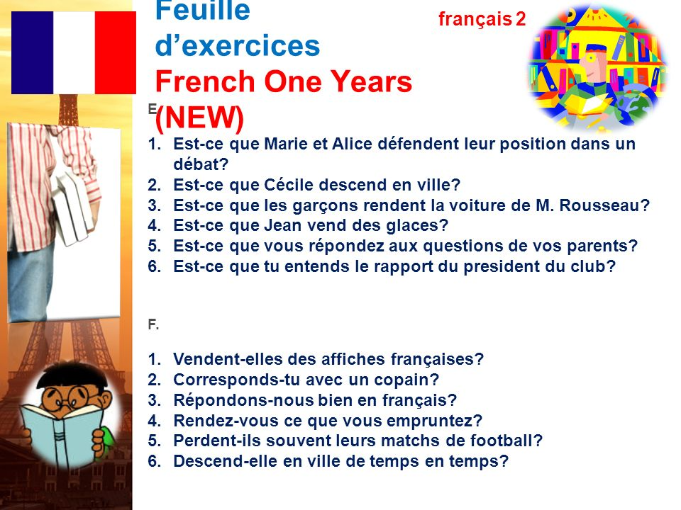 Les verbes en –re Feuille d'exercices French One Years (NEW)
