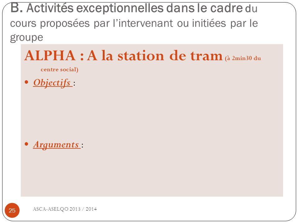 ALPHA : A la station de tram (à 2min30 du centre social)