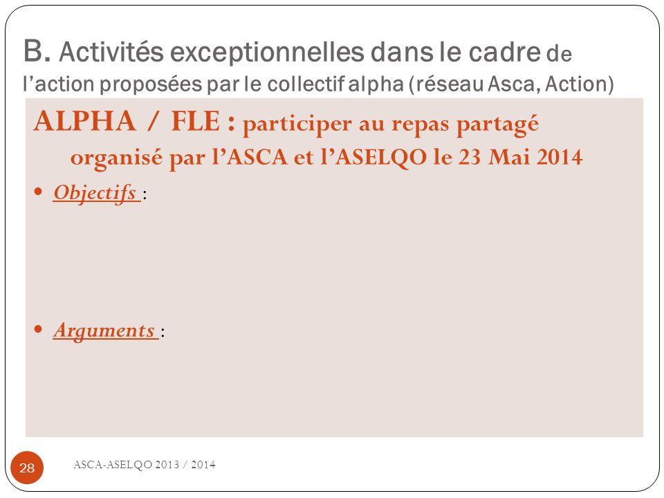 B. Activités exceptionnelles dans le cadre de l'action proposées par le collectif alpha (réseau Asca, Action)