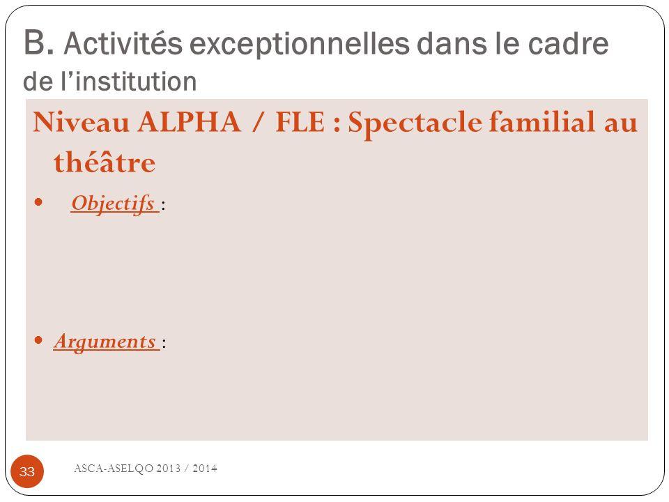 B. Activités exceptionnelles dans le cadre de l'institution