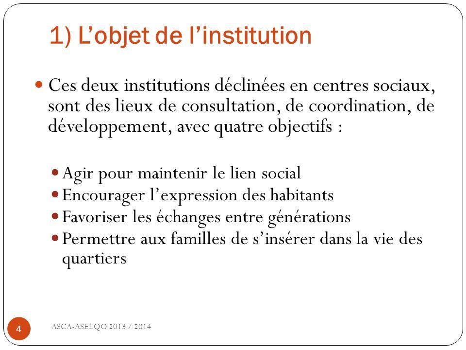 1) L'objet de l'institution