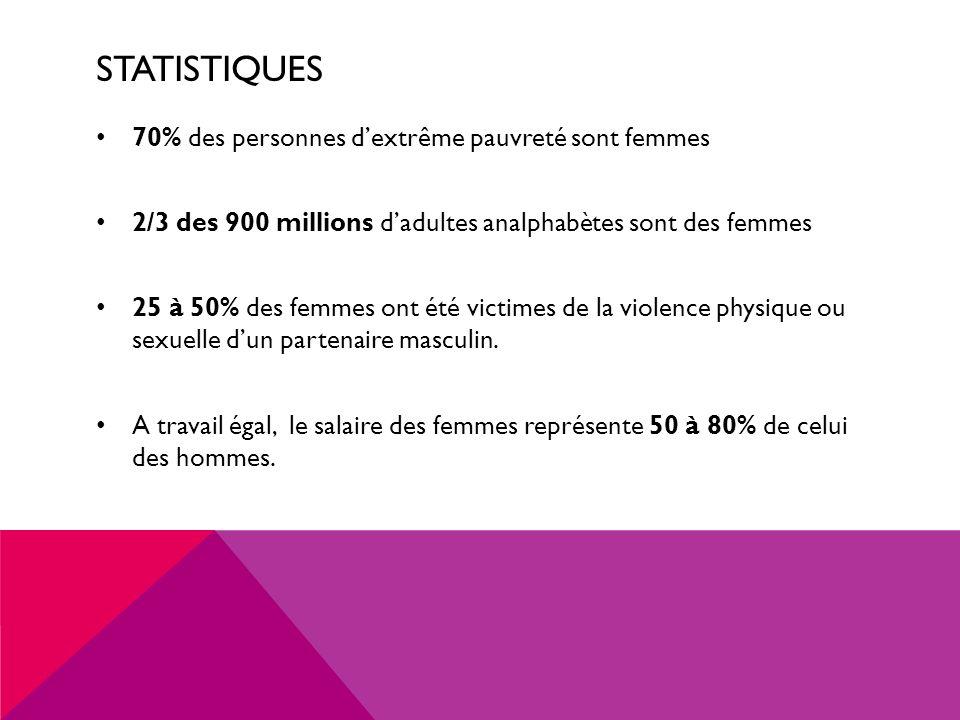 Statistiques 70% des personnes d'extrême pauvreté sont femmes