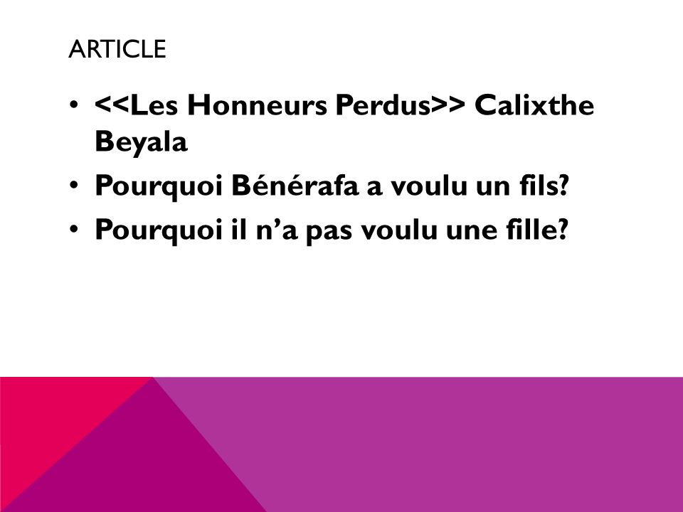 <<Les Honneurs Perdus>> Calixthe Beyala