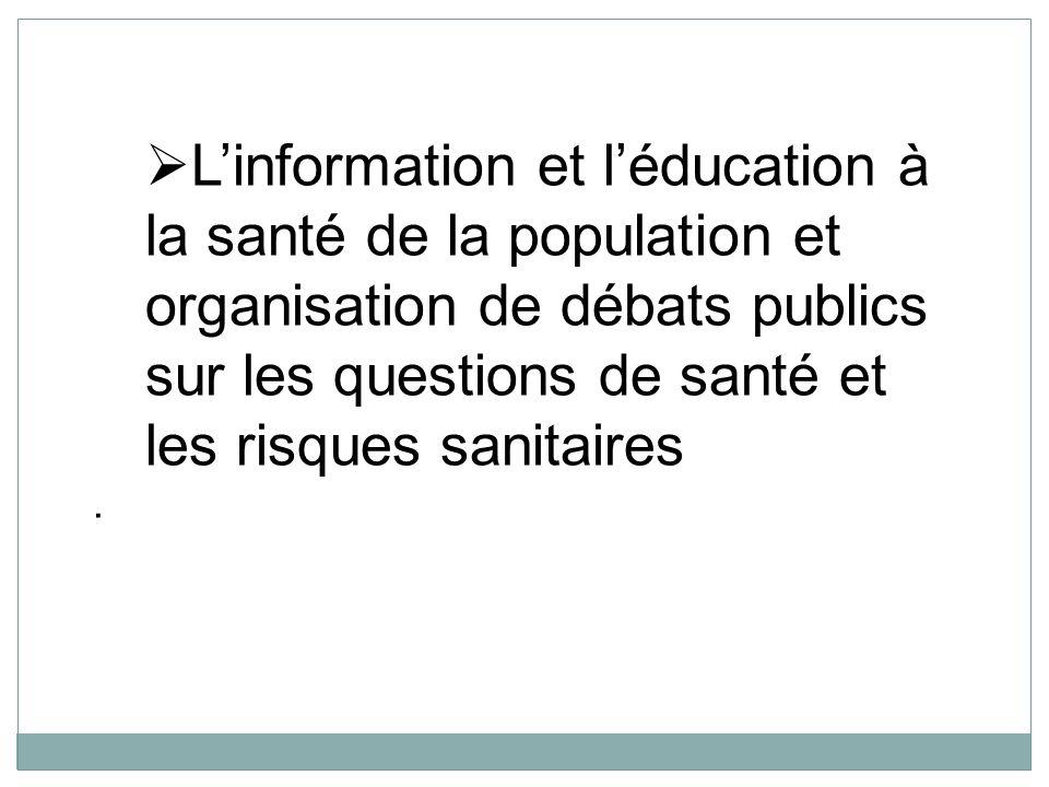 L'information et l'éducation à la santé de la population et organisation de débats publics sur les questions de santé et les risques sanitaires