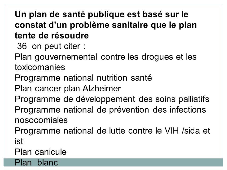 Un plan de santé publique est basé sur le constat d'un problème sanitaire que le plan tente de résoudre