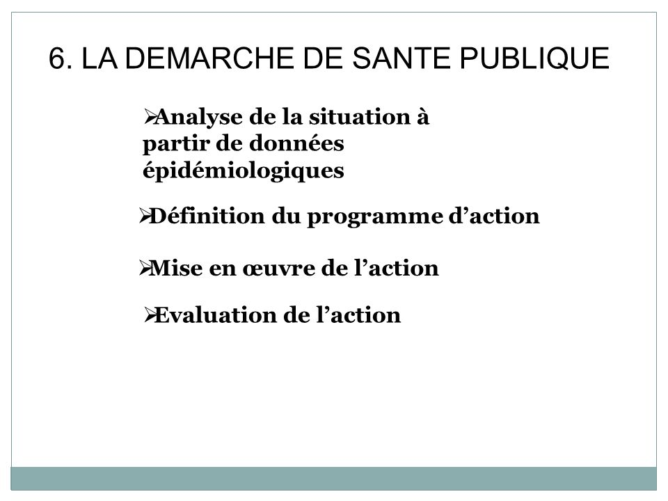 6. LA DEMARCHE DE SANTE PUBLIQUE