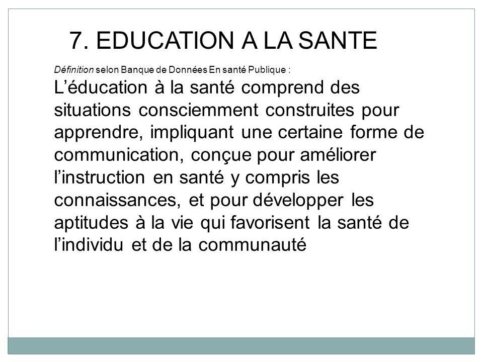 7. EDUCATION A LA SANTE Définition selon Banque de Données En santé Publique :