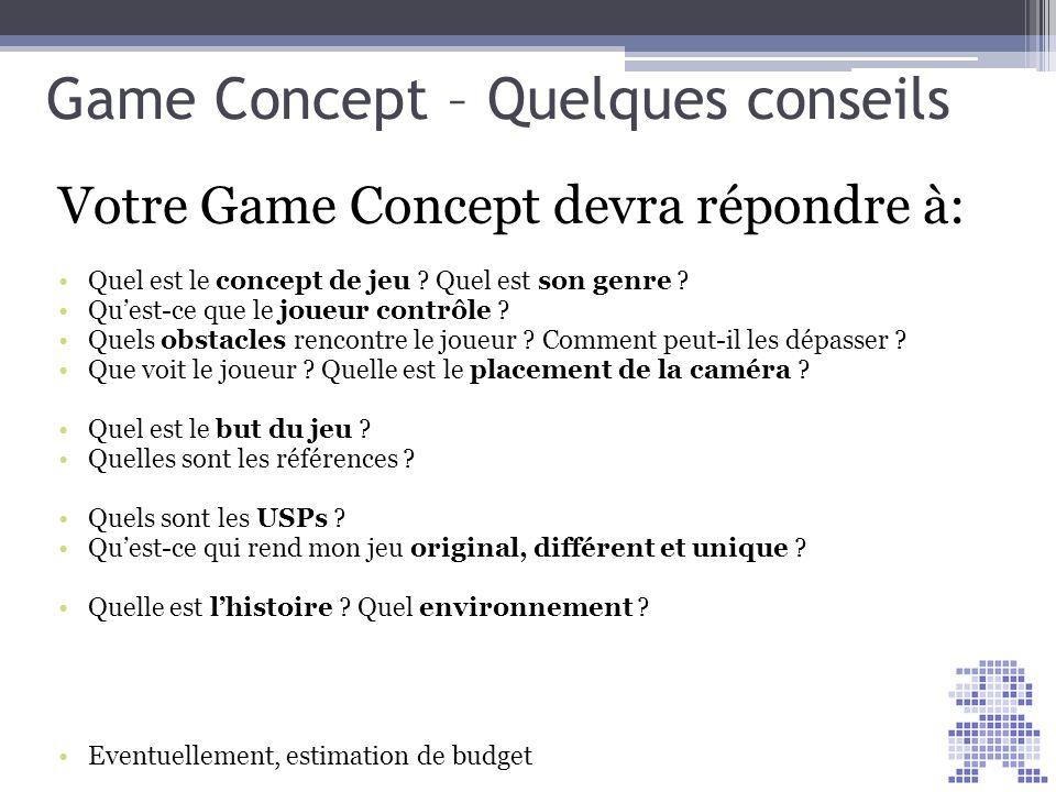 Game Concept – Quelques conseils