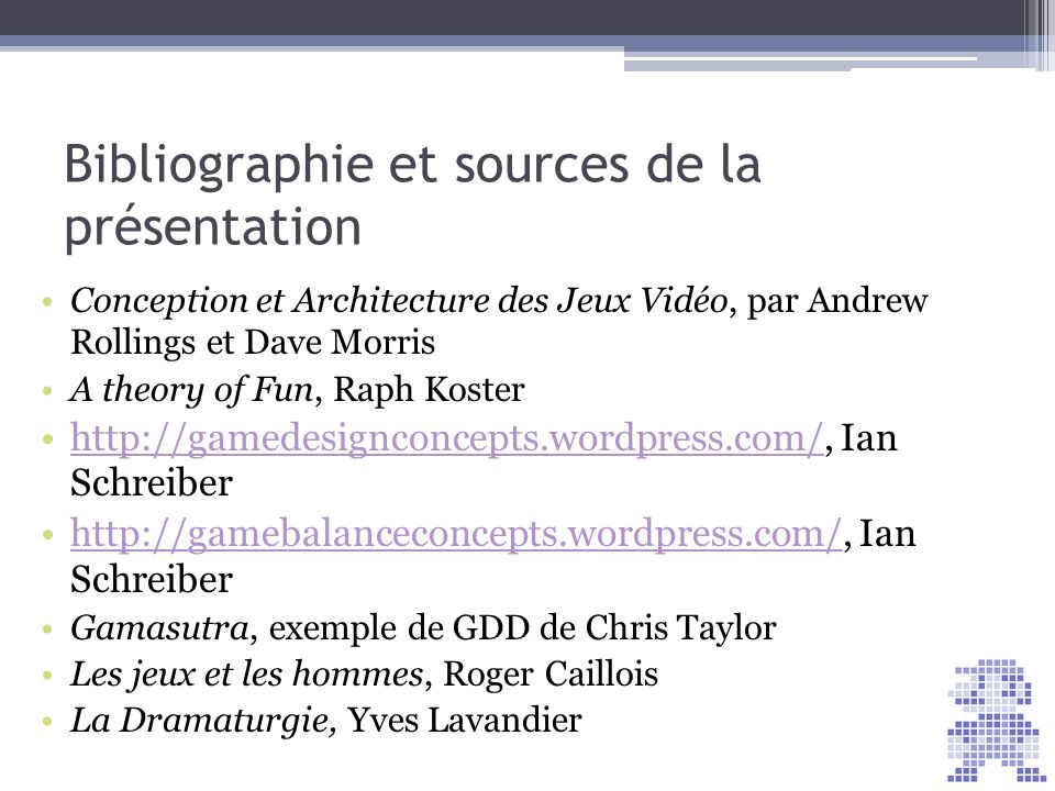 Bibliographie et sources de la présentation