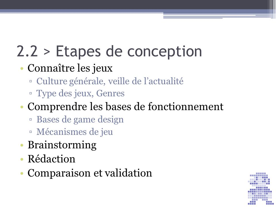 2.2 > Etapes de conception