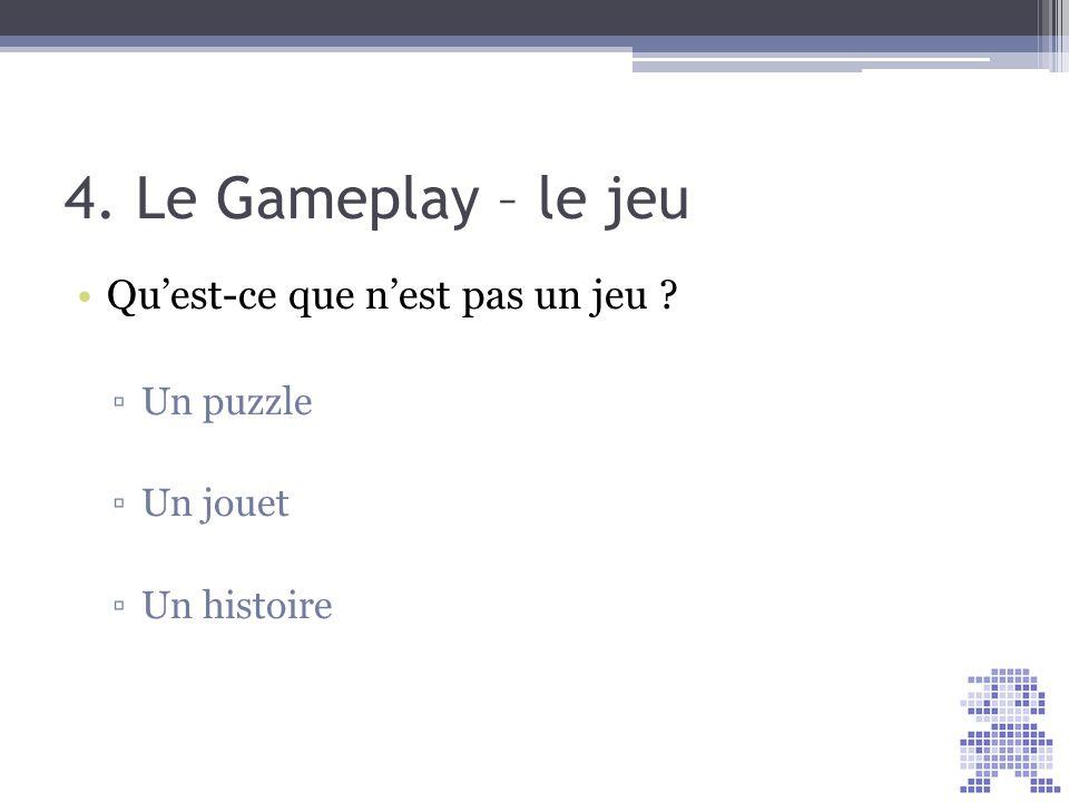 4. Le Gameplay – le jeu Qu'est-ce que n'est pas un jeu Un puzzle
