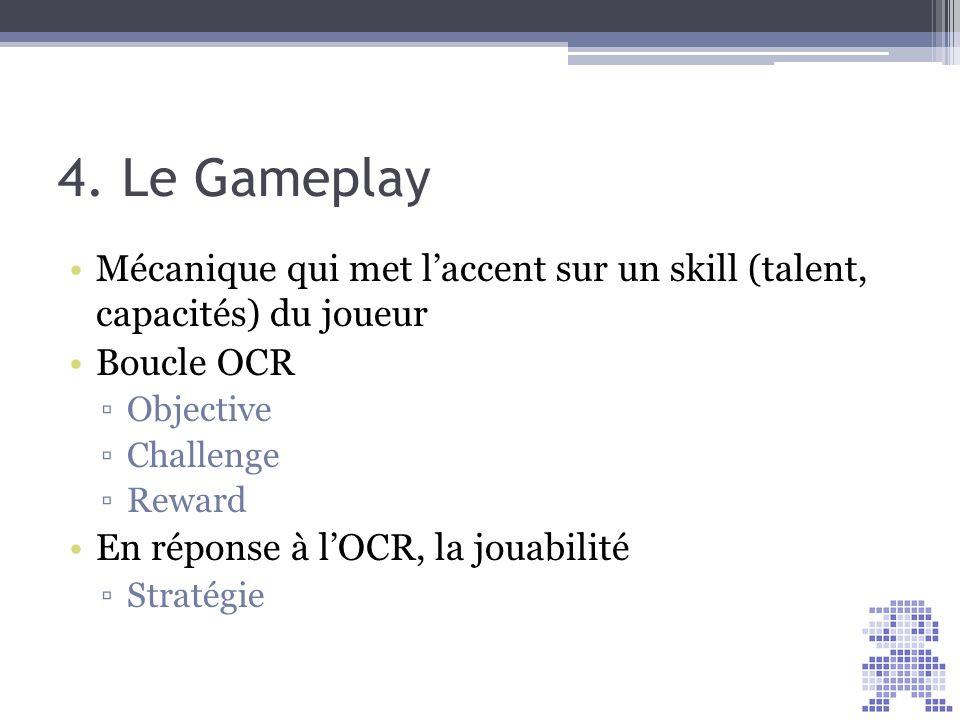 4. Le Gameplay Score = 30. Mécanique qui met l'accent sur un skill (talent, capacités) du joueur.