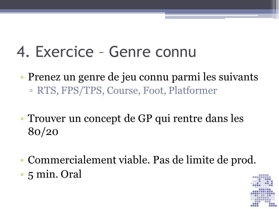 4. Exercice – Genre connu Prenez un genre de jeu connu parmi les suivants. RTS, FPS/TPS, Course, Foot, Platformer.