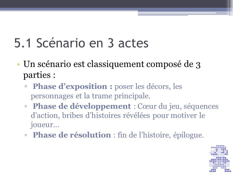 5.1 Scénario en 3 actes Un scénario est classiquement composé de 3 parties :