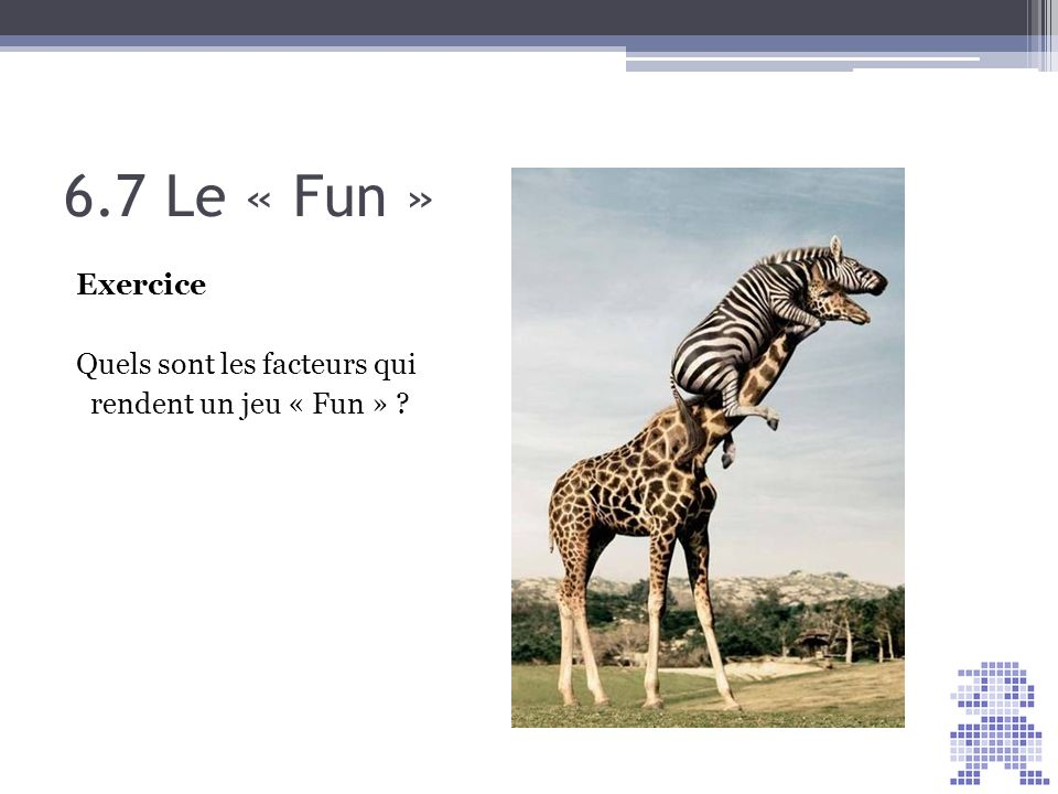 6.7 Le « Fun » Exercice Quels sont les facteurs qui rendent un jeu « Fun »