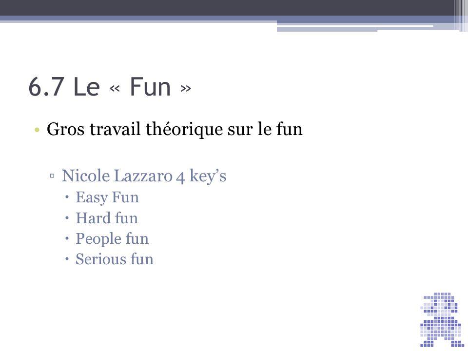 6.7 Le « Fun » Gros travail théorique sur le fun
