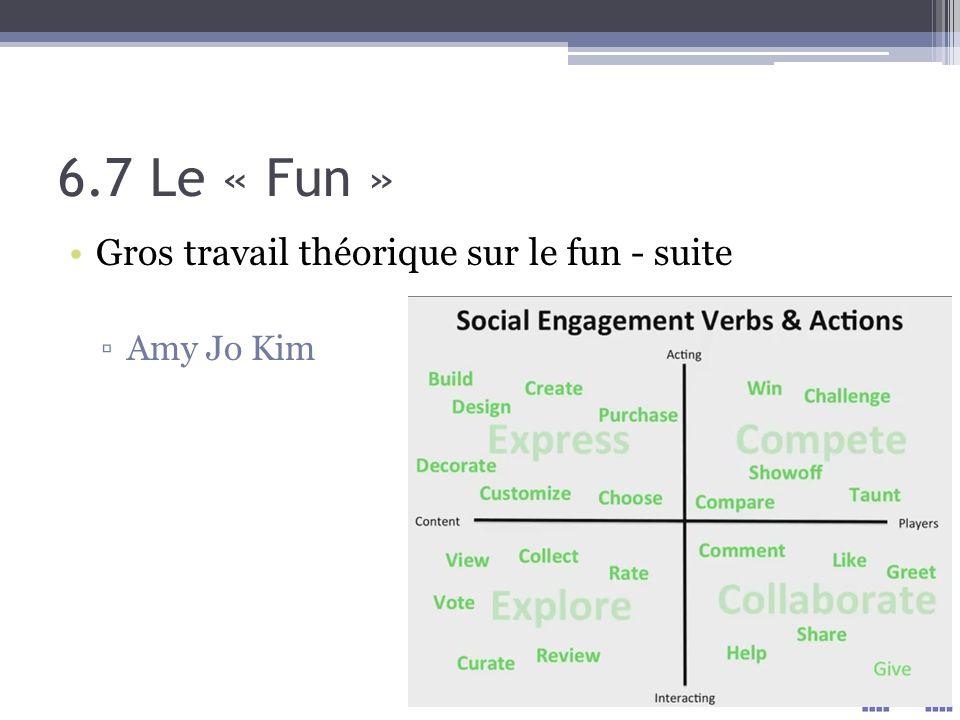 6.7 Le « Fun » Gros travail théorique sur le fun - suite Amy Jo Kim
