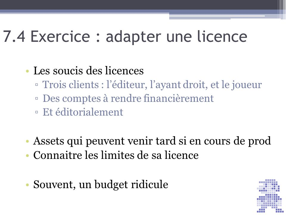 7.4 Exercice : adapter une licence