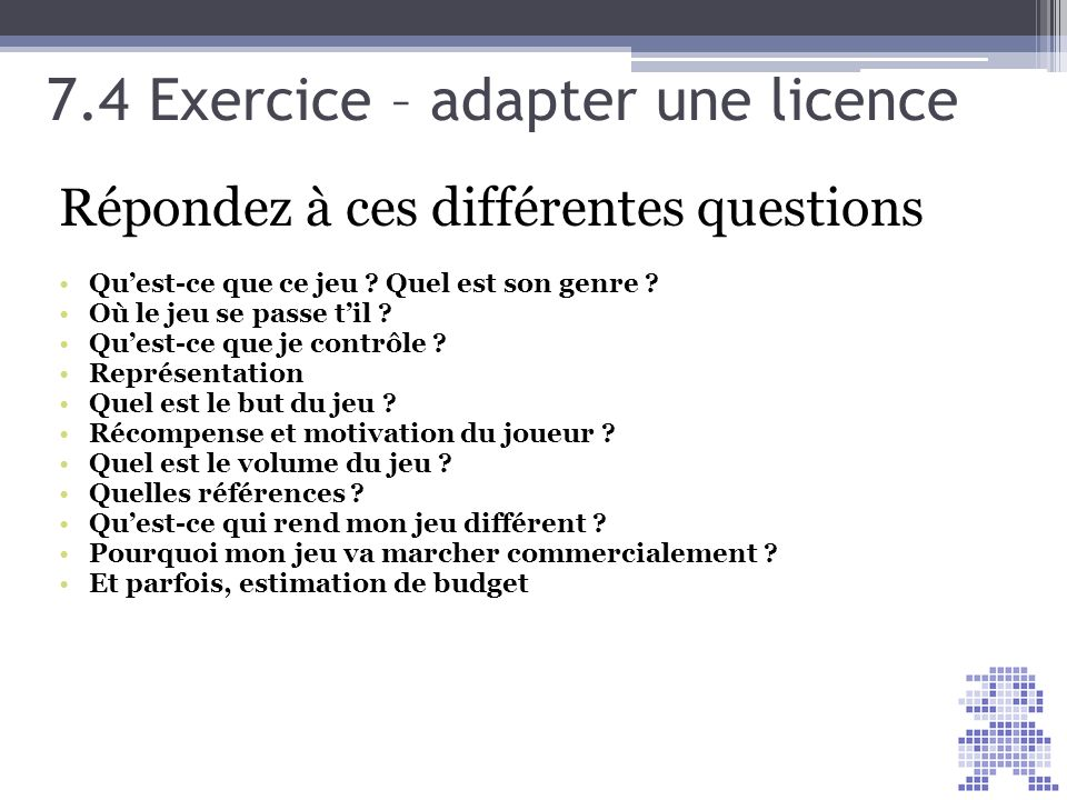 7.4 Exercice – adapter une licence