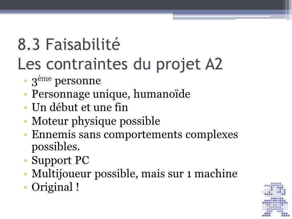 8.3 Faisabilité Les contraintes du projet A2