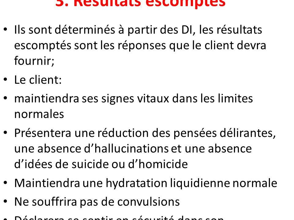 3. Résultats escomptés Ils sont déterminés à partir des DI, les résultats escomptés sont les réponses que le client devra fournir;