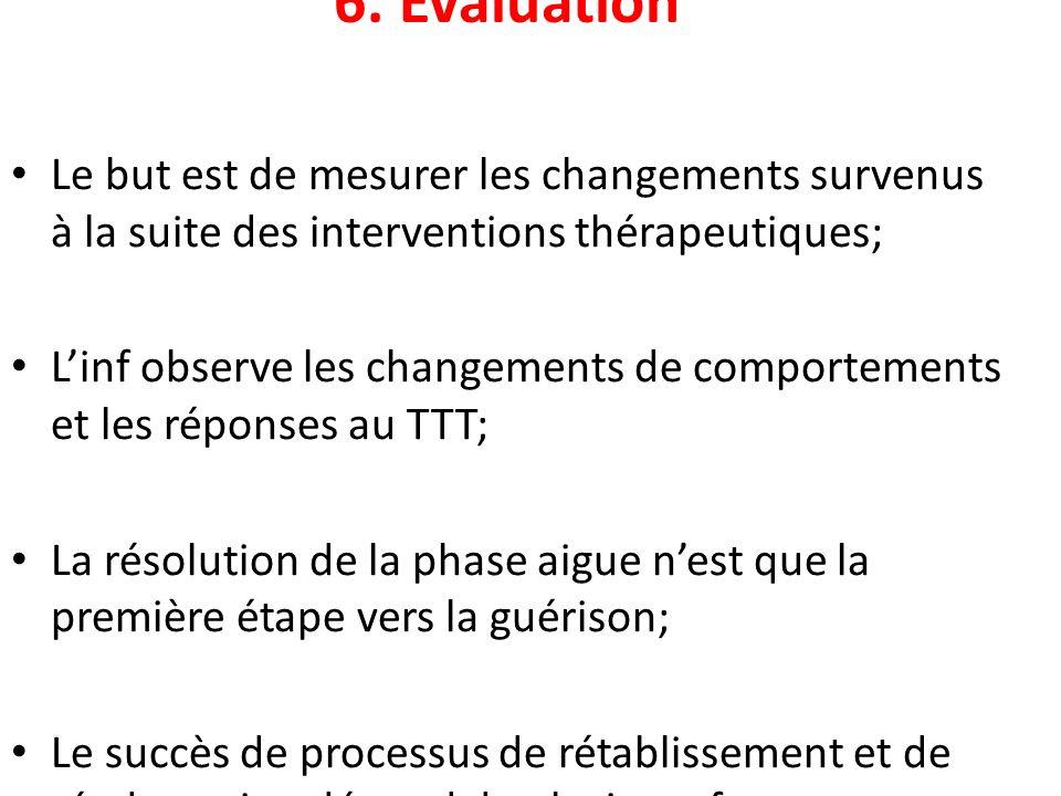 6. Evaluation Le but est de mesurer les changements survenus à la suite des interventions thérapeutiques;