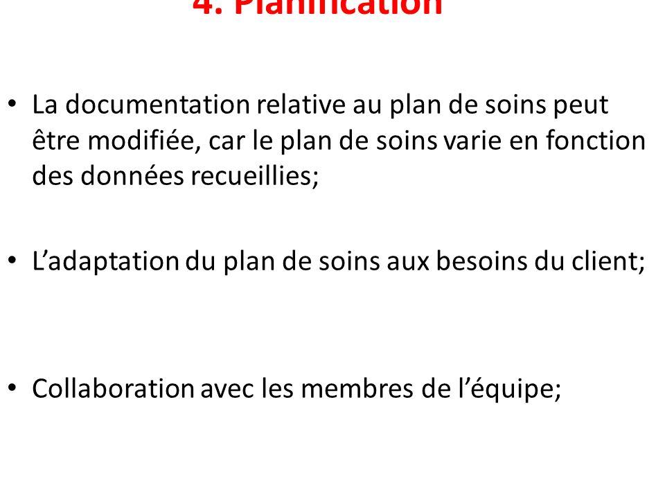 4. Planification La documentation relative au plan de soins peut être modifiée, car le plan de soins varie en fonction des données recueillies;