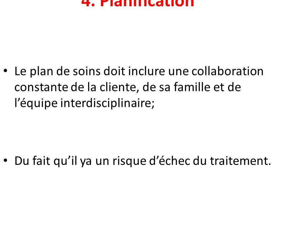 4. Planification Le plan de soins doit inclure une collaboration constante de la cliente, de sa famille et de l'équipe interdisciplinaire;