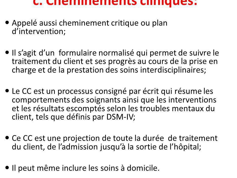 c. Cheminements cliniques: