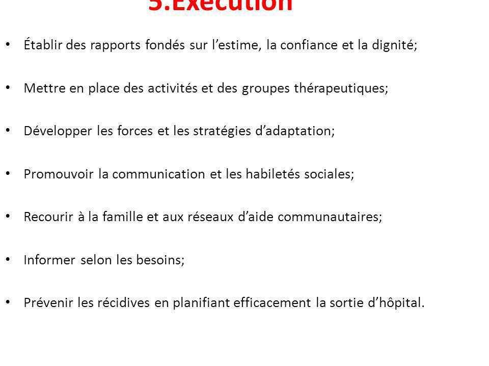 5.Exécution Établir des rapports fondés sur l'estime, la confiance et la dignité; Mettre en place des activités et des groupes thérapeutiques;