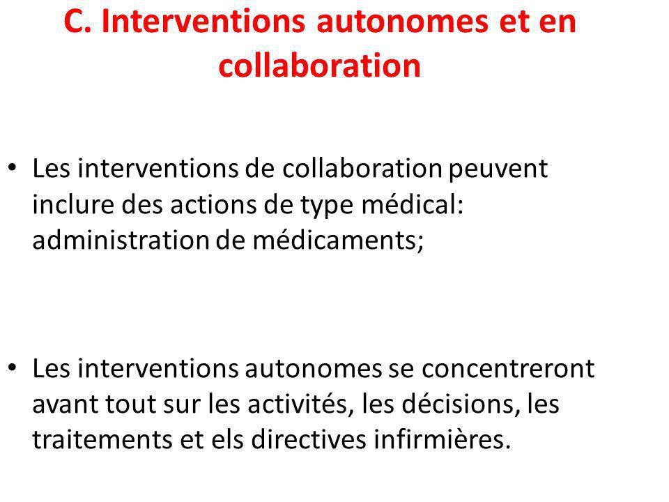 C. Interventions autonomes et en collaboration